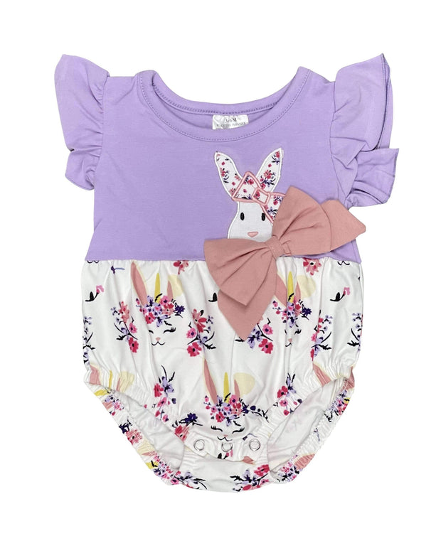 ILTEX Apparel Kids Clothing Easter Floral Bunny Lavender Onesie
