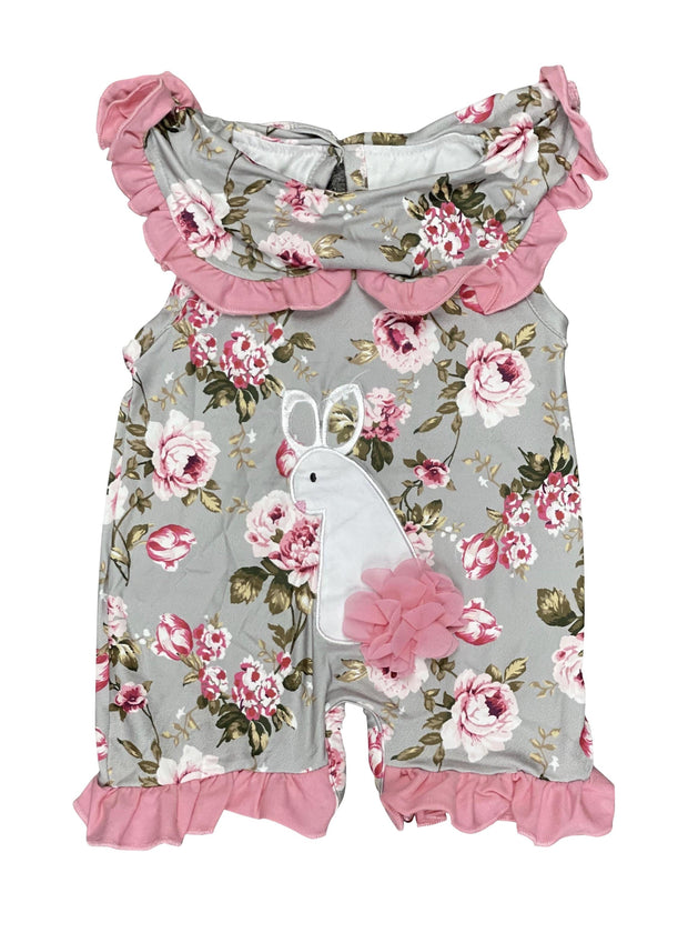 ILTEX Apparel Kids Clothing Easter Floral Bunny Sleeveless Romper