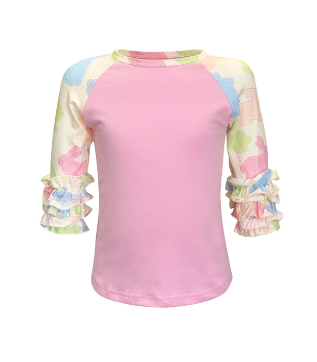 ILTEX Apparel Kids Clothing Easter Pink Bunny Ruffle Top Kids