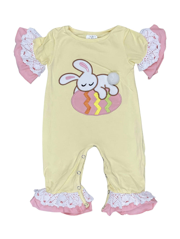 ILTEX Apparel Kids Clothing Easter Yellow Ruffle Bunny Egg Romper