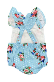 ILTEX Apparel Kids Clothing Floral Polka Dot Blue Onesie