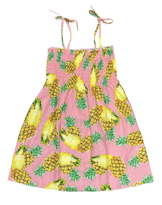 ILTEX Apparel Kids Clothing Girl's Ruched Pink Pineapple Sundress