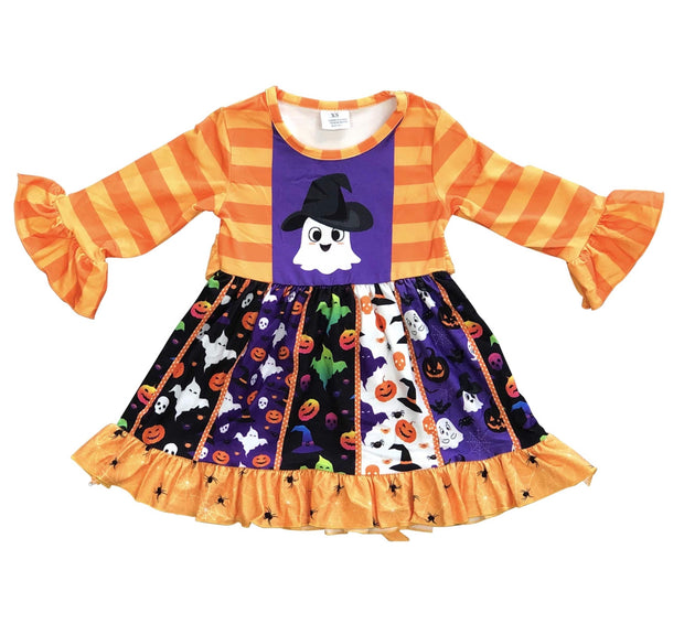 ILTEX Apparel Kids Clothing Halloween Orange Ghost Dress