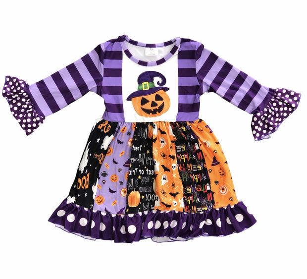 ILTEX Apparel Kids Clothing Halloween Purple Pumpkin Dress