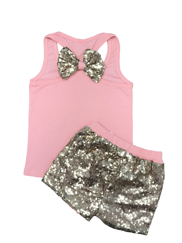 ILTEX Apparel Kids Clothing Sequin Bow Tank Top Set Kids