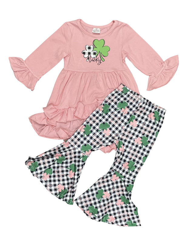 ILTEX Apparel Kids Clothing St. Patricks Day Clover Coral Plaid Outfit