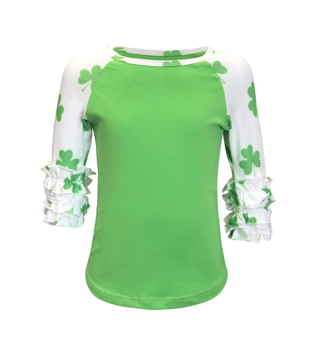 ILTEX Apparel Kids Clothing St. Patricks Green Shamrock Ruffle Top Kids