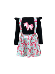 ILTEX Apparel Kids Clothing Unicorn Soft Suspender Black Skirt Set