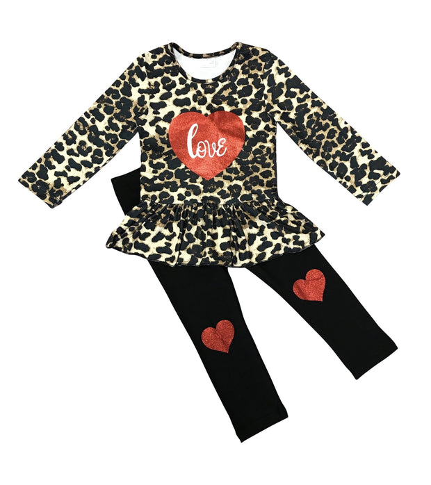 "ILTEX Apparel Kids Clothing Valentine Cheetah ""Love"" Dress Kids"