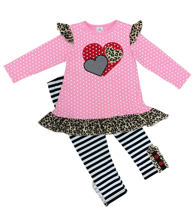 ILTEX Apparel Kids Clothing Valentine Cheetah Polka Dot Dress Kids