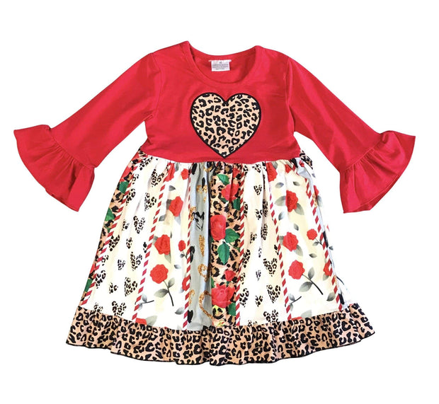 ILTEX Apparel Kids Clothing Valentine Floral Cheetah Dress Kids