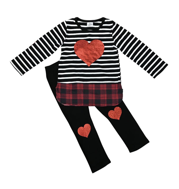 ILTEX Apparel Kids Clothing Valentine Striped Heart Pajama Set Kids