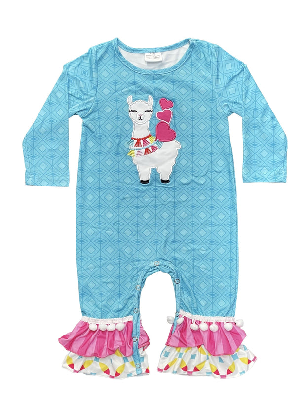 ILTEX Apparel Llama Blue Kids Romper