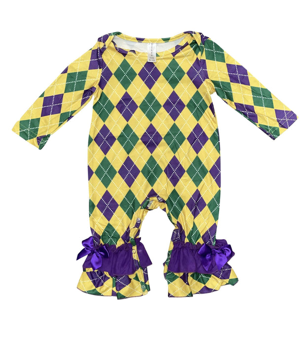 ILTEX Apparel Mardi Gras Harlequin Diamond Romper