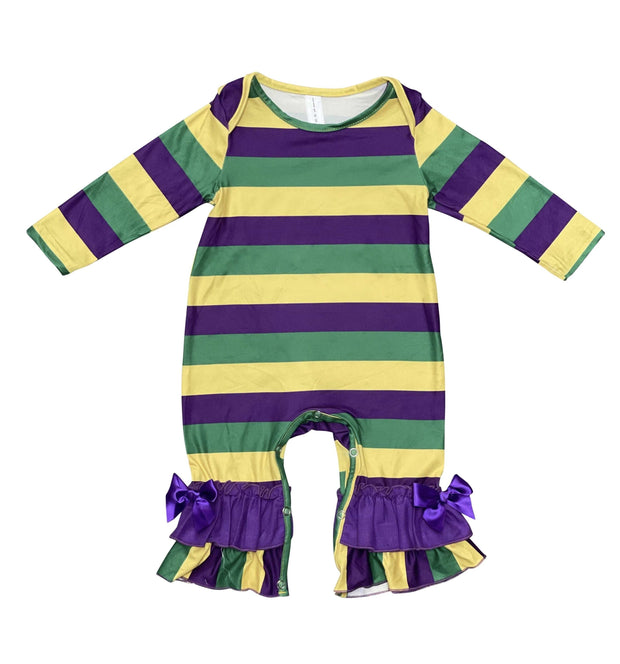 ILTEX Apparel Mardi Gras Striped Romper