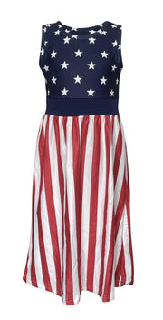 ILTEX Apparel Patriotic Stars and Stripes Maxi Dress Kids