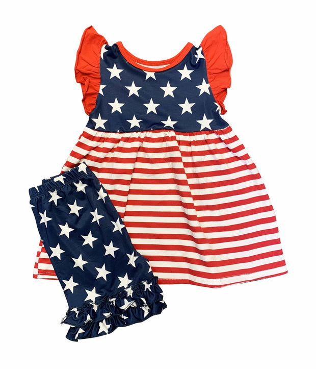 ILTEX Apparel Patriotic Stars and Stripes Ruffle Outfit Kids