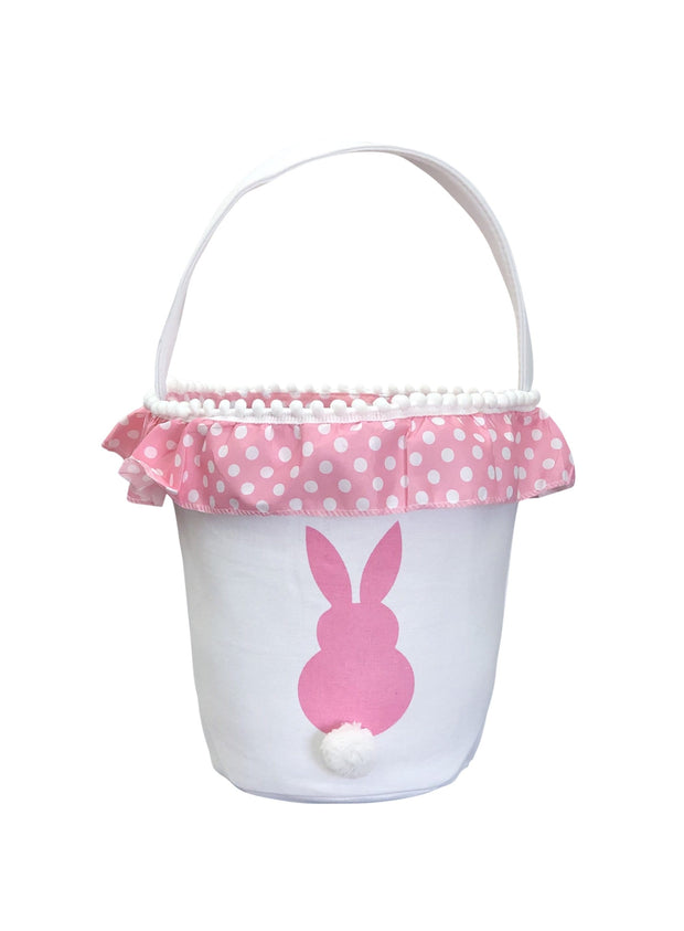 ILTEX Apparel Pink Easter Bunny Frill Cotton Tail Basket