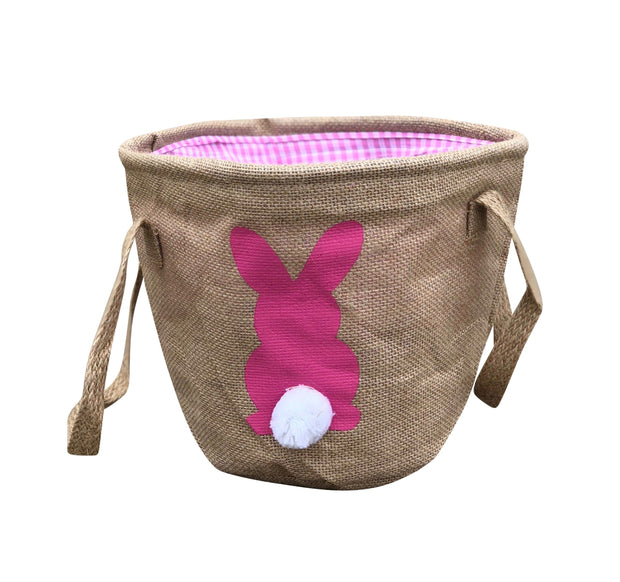 ILTEX Apparel Pink Easter Burlap Bunny Cotton Tail Basket