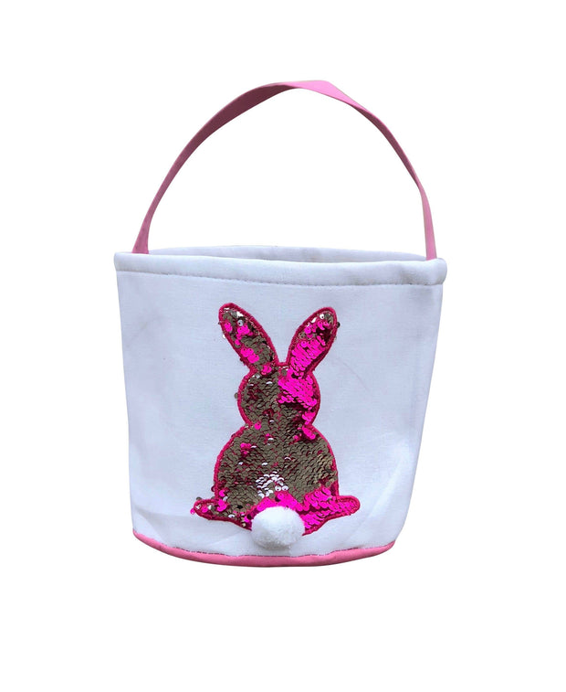 ILTEX Apparel Pink Easter Sequin Bunny Cotton Tail Basket