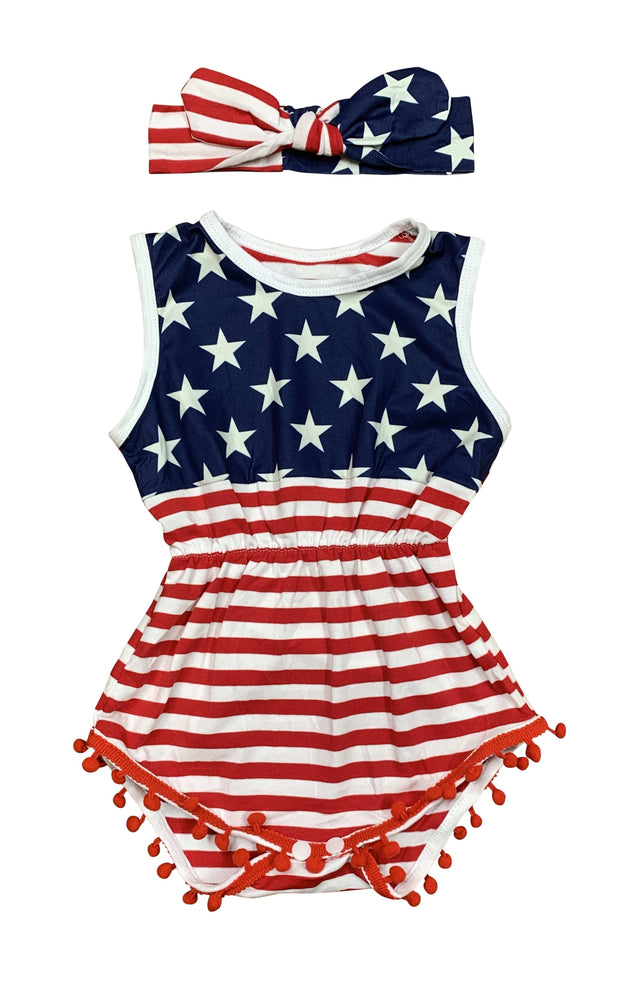 ILTEX Apparel Pom Pom Onesie Patriotic Stars and Stripes