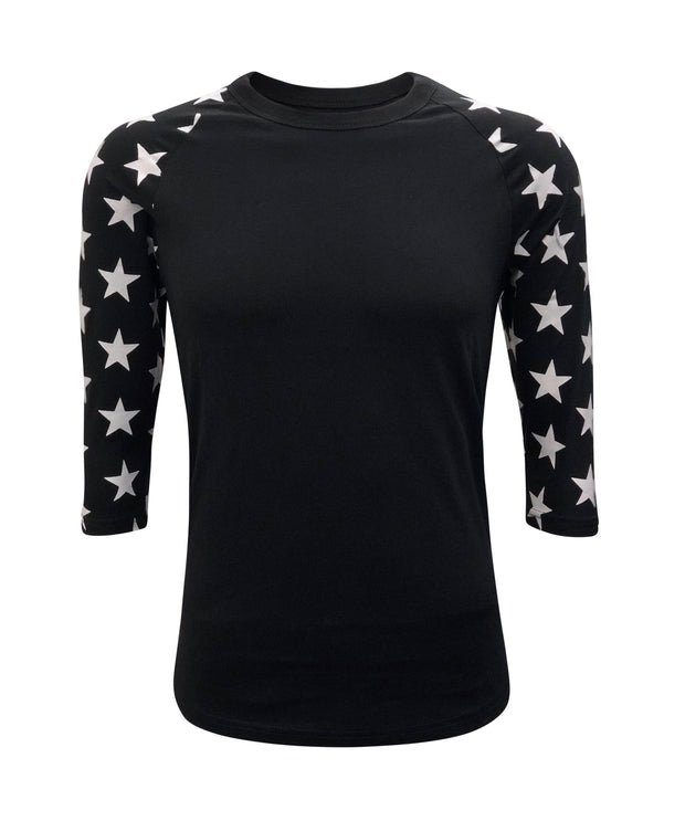 ILTEX Apparel Printed Raglans Black/Black Star / Y-Small Star Sleeve Raglan Youth