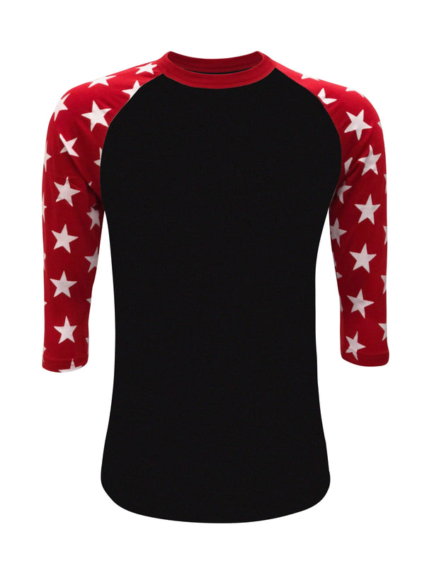 ILTEX Apparel Printed Raglans Black/Red Star / Y-Small Star Sleeve Raglan Youth
