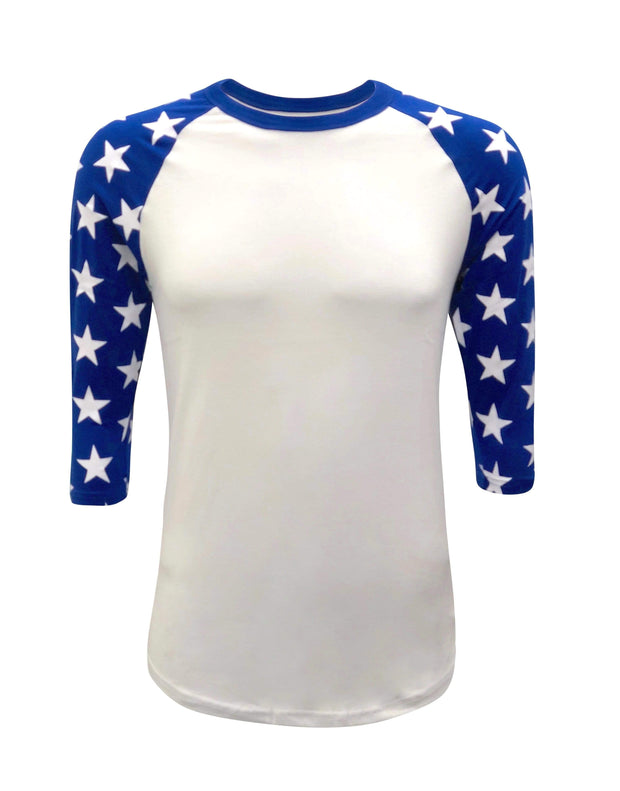 ILTEX Apparel Printed Raglans White/Royal Blue Star / Y-Small Star Sleeve Raglan Youth