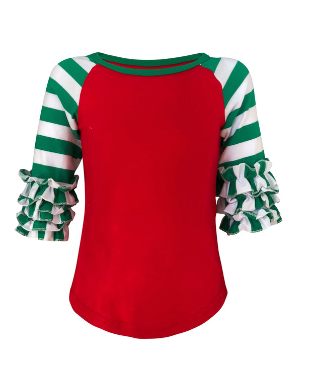 ILTEX Apparel Ruffle Raglan 0-1 years Christmas Striped Ruffle Red Green Kids
