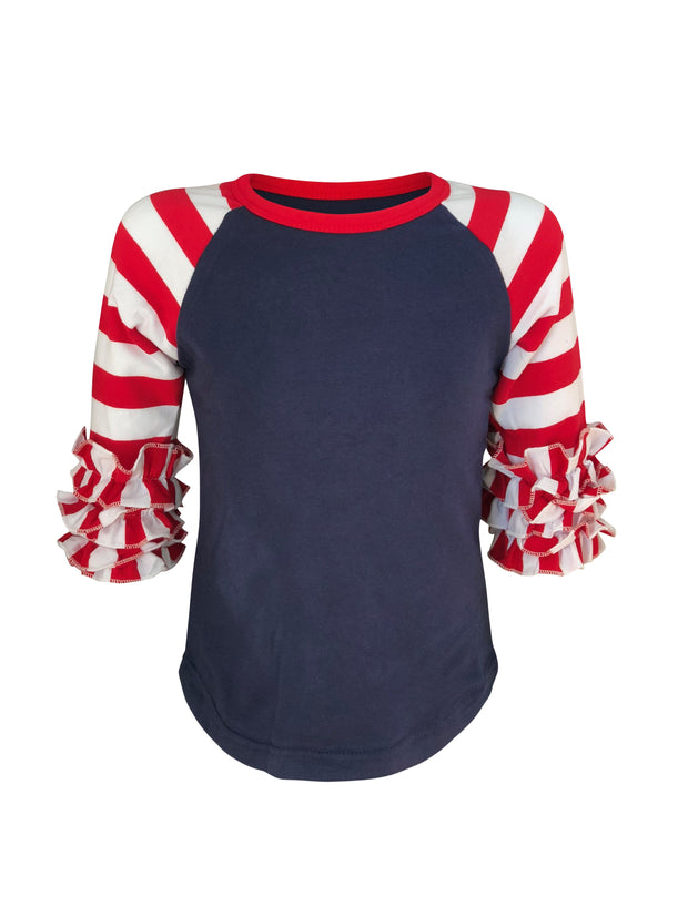 ILTEX Apparel Ruffle Raglan 0-1 years July 4th Striped Navy Red White Ruffle Top Kids