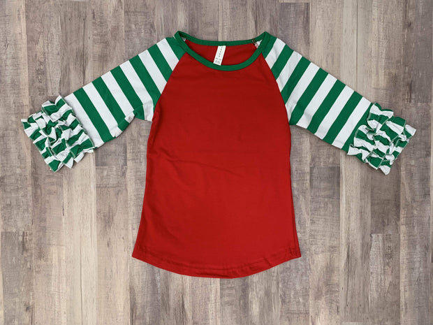 ILTEX Apparel Ruffle Raglan Christmas Striped Ruffle Red Green Kids