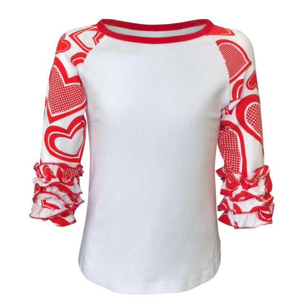 ILTEX Apparel Ruffle Raglan Heart Valentines Ruffle Top Kids