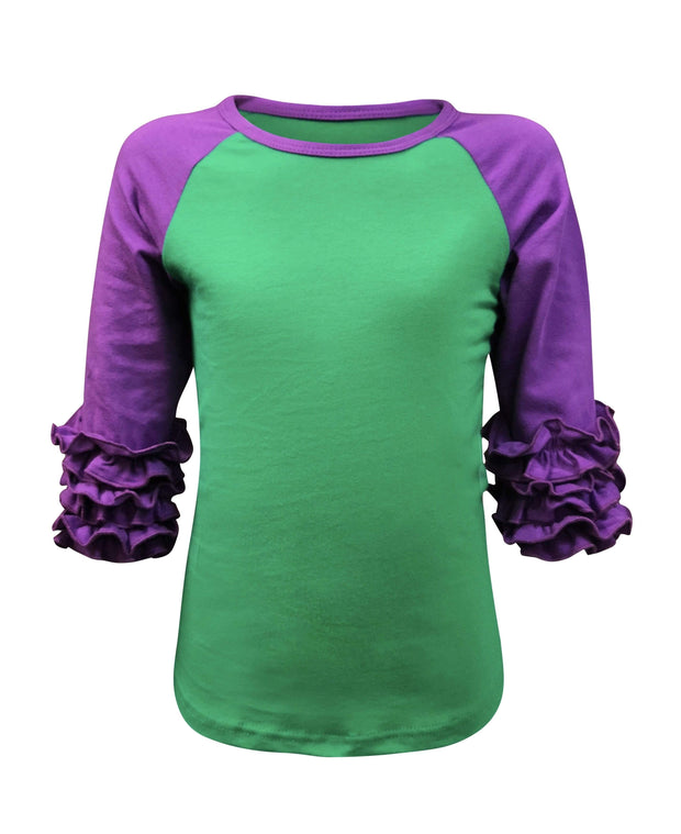 ILTEX Apparel Ruffle Raglan Mardi Grass Ruffle Green/Purple Top Kids