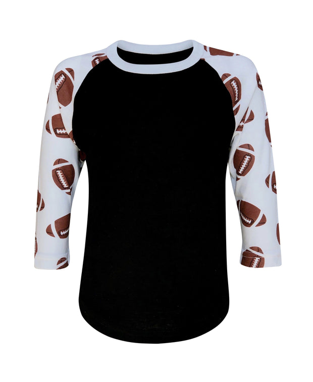 ILTEX Apparel Sports Raglan 2T / Black/White Football Print Raglan Kids
