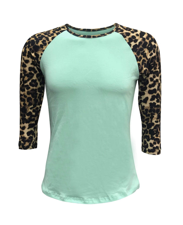 ILTEX Apparel Women's Clothing Cheetah Print Mint Raglan