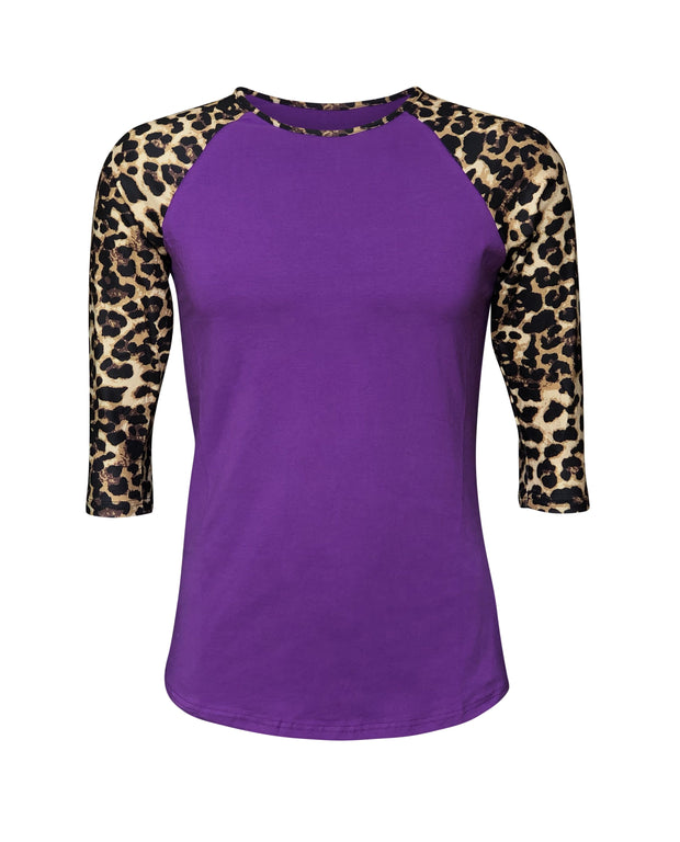 ILTEX Apparel Women's Clothing Cheetah Print Purple Raglan