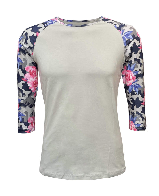 ILTEX Apparel Women's Clothing Floral Camo Gray Top
