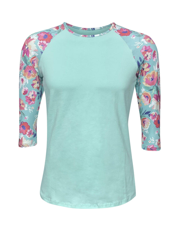 ILTEX Apparel Women's Clothing Floral Mint Spring Top