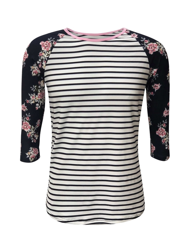 ILTEX Apparel Women's Clothing Floral Striped Top
