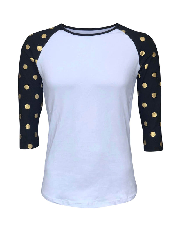 ILTEX Apparel Women's Clothing Gold Dots White Black Top