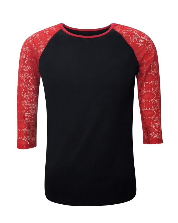 ILTEX Apparel Women's Clothing Lace Sleeves Black Red Top