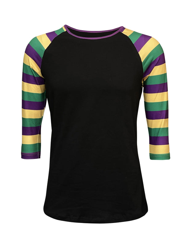 ILTEX Apparel Women's Clothing Mardi Gras Striped Black Top