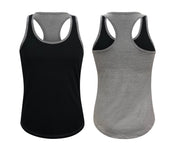 ILTEX Apparel Women's Clothing Small / Black/Gray Racerback Two Tone Women Tank Top