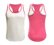 ILTEX Apparel Women's Clothing Small / White/Hot Pink Racerback Two Tone Women Tank Top