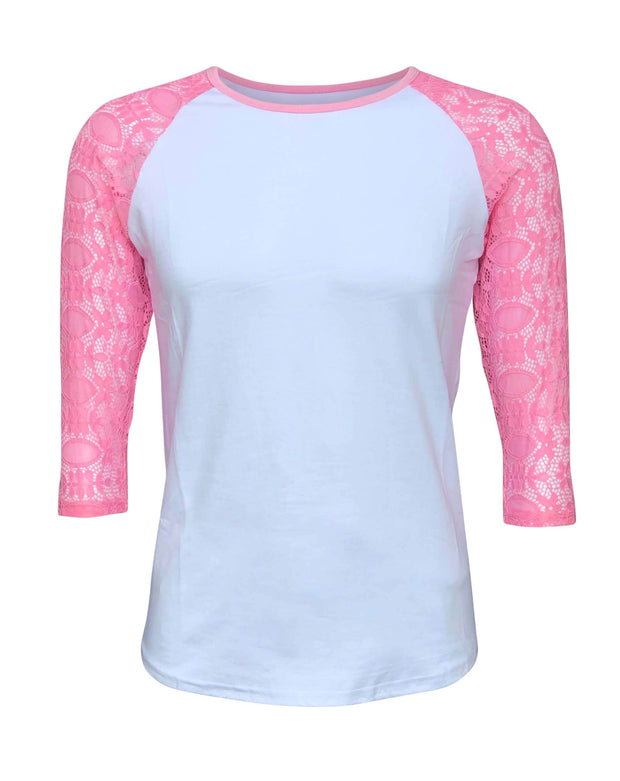 ILTEX Apparel Women's Clothing Small / White/Pink Lace Sleeves Top