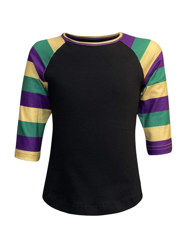 ILTEX T-Shirts Kids Clothing Mardi Gras Striped Black Top Kids
