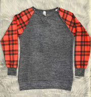 ILTEX T-Shirts Plaid Raglan Checkered Heather Grey Plaid Adult
