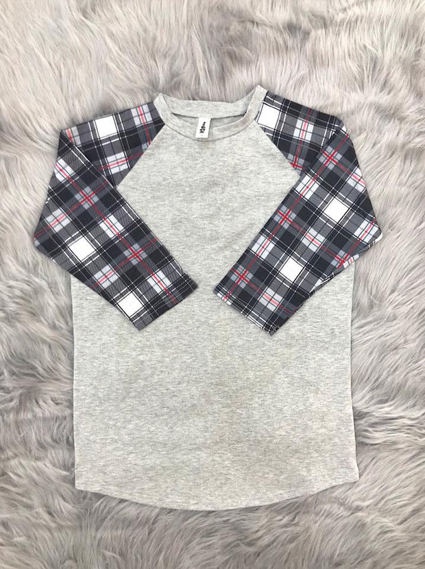 ILTEX T-Shirts Plaid Raglan Plaid Raglan Gray/Red/Black
