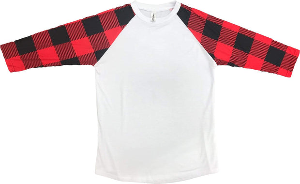 ILTEX T-Shirts Plaid Raglan Plaid Raglan White Red/Black Checkered
