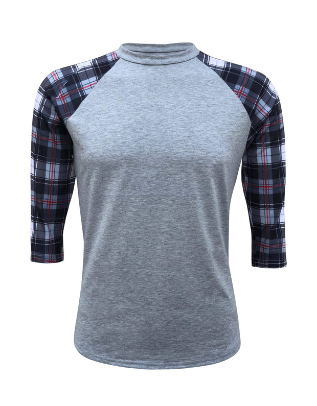 ILTEX T-Shirts Plaid Raglan Small Plaid Raglan Gray/Red/Black